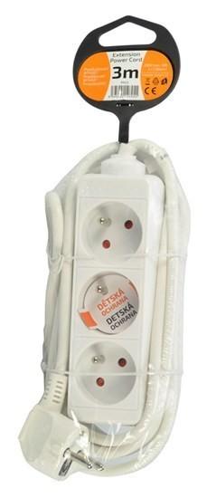 Solight prodlužovací přívod, 3 zásuvky, bílý, 3m - PP03