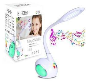 NILSEN LED lampa Magic Music dotyková, stmív, 6W, volba teploty světla, bílá - INAD001