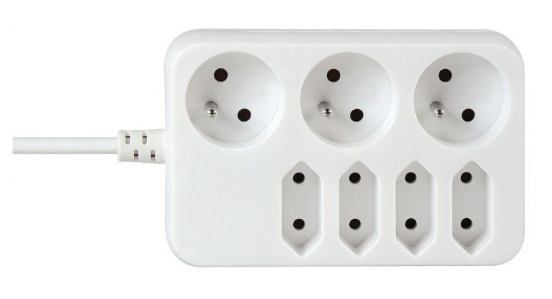 Prodlužovací kabel 3 zásuvky+ 4 zásuvky 3m - P07131