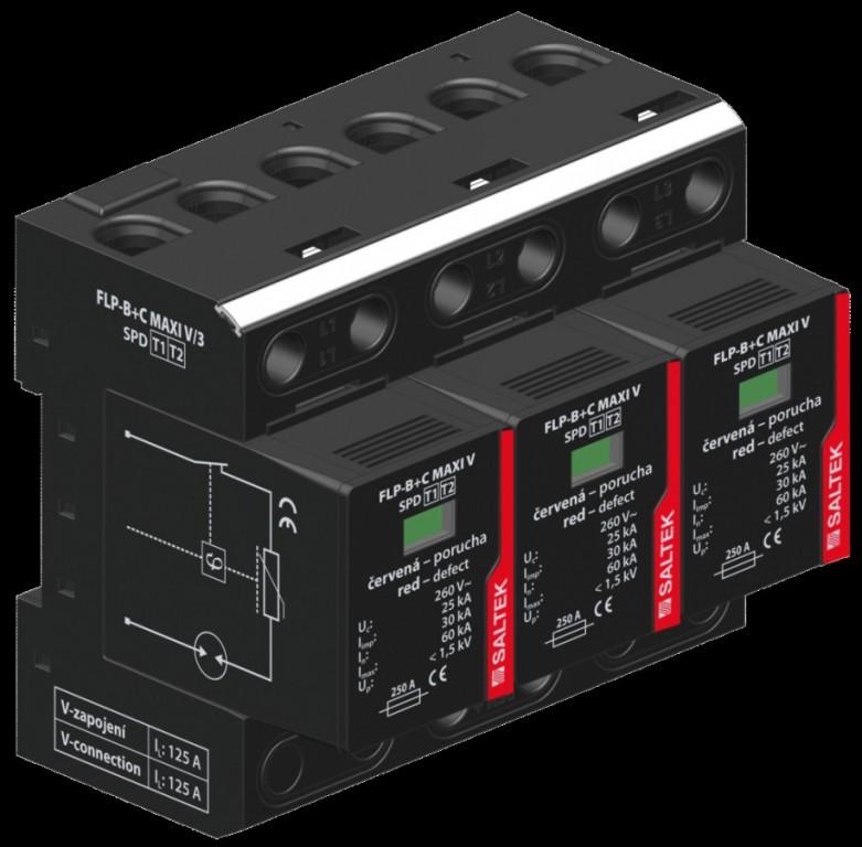 Svodič bleskových proudů SALTEK FLP-B+C MAXI V/3