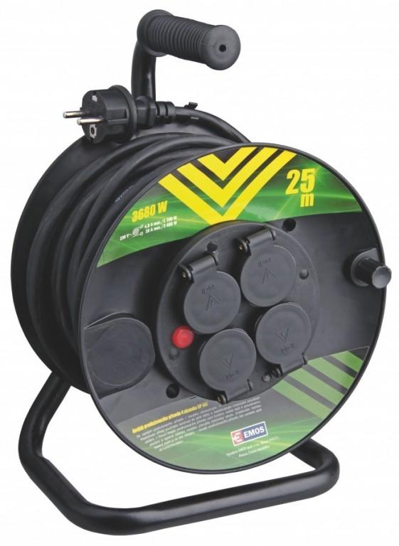 Gumový prodlužovací kabel na bubnu-4 zásuvky 25m - P084251
