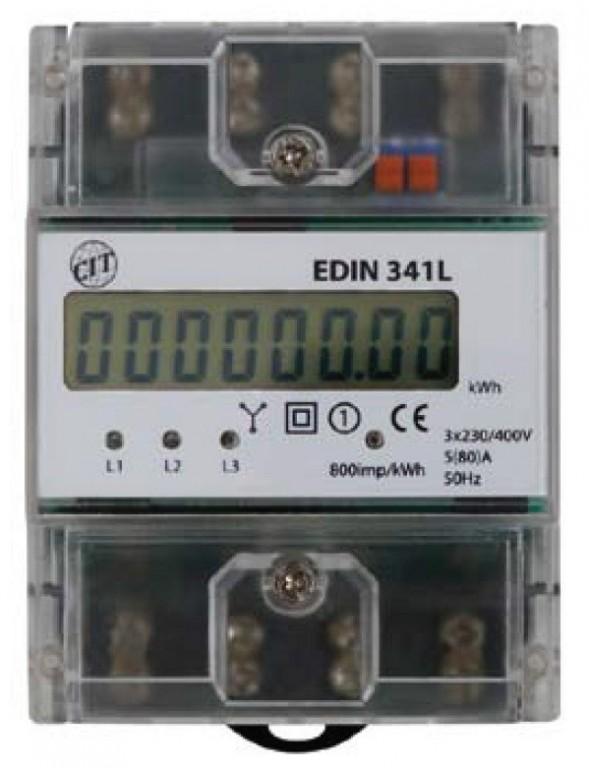 Elektroměr EDIN 341L, 3fázový 5-80A 4,5M - LCD dispej