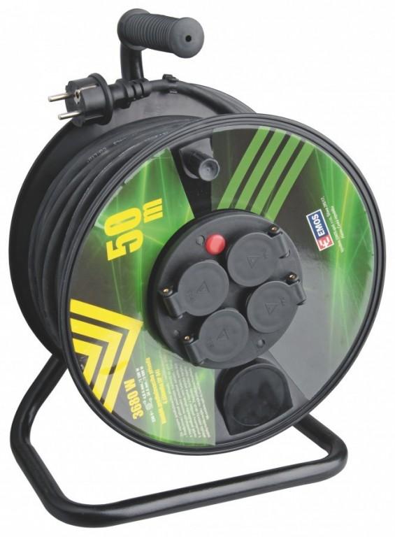 Gumový prodlužovací kabel na bubnu - 4 zásuvky 50m - P084501