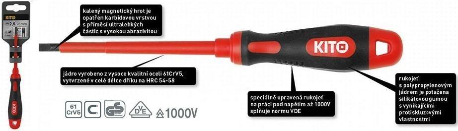 Šroubovák KITO elektrikářský křížový PH0x75mm - 4800611