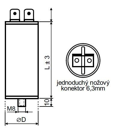 Rozběhový kondenzátor 20 µF konektor - MPB0200041