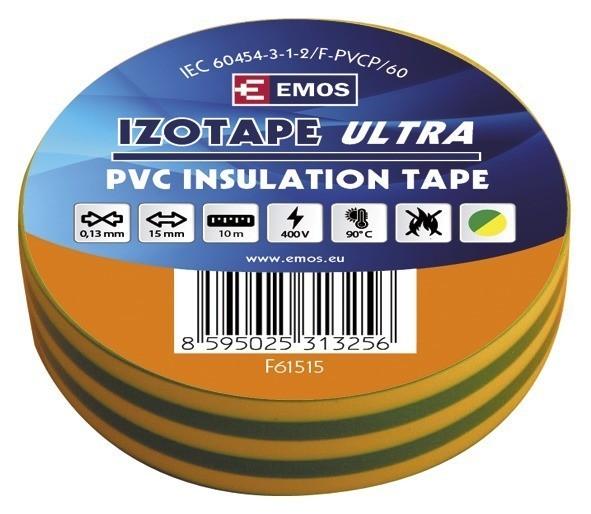 Izolační páska PVC 15mm / 10m zelenožlutá - F61515