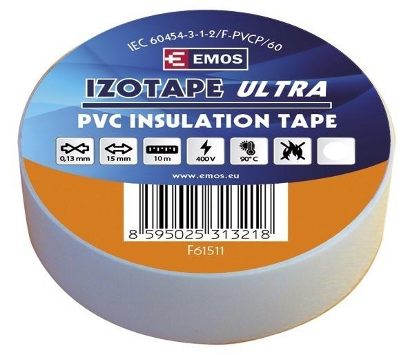 Izolační páska PVC 15mm / 10m bílá - F61511