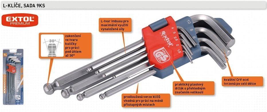 L-klíče imbus sada 9ks 1,5-10mm s kuličkou EXTOL - 6609