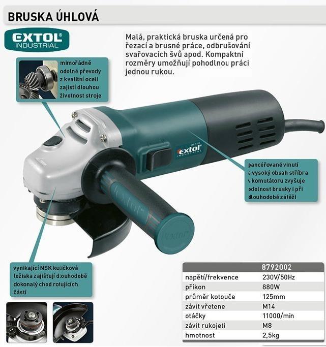 Úhlová bruska 125mm EXTOL INDUSTRIAL IAG 8-125 - 8792002