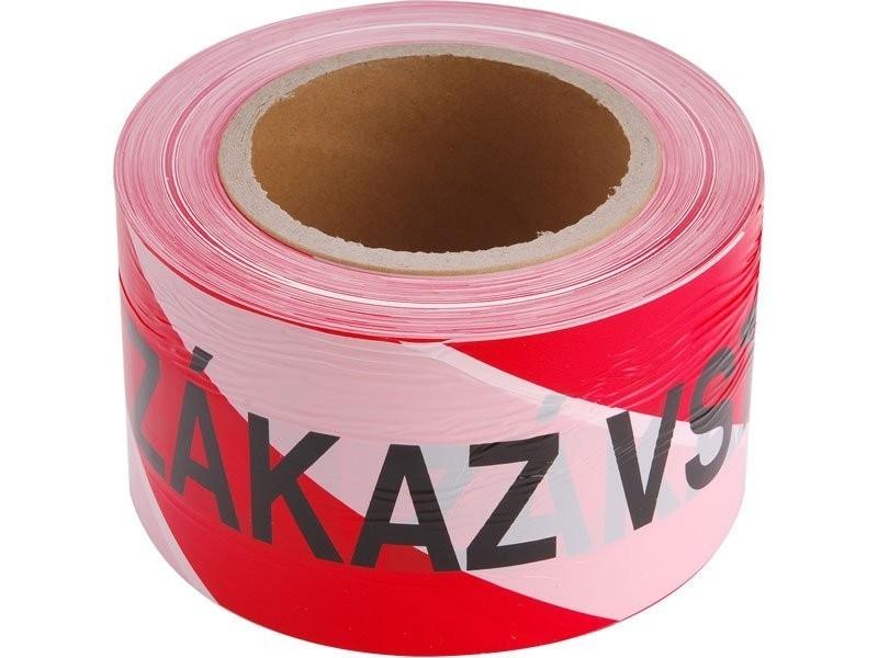 Páska výstražná červeno-bílá ZÁKAZ VSTUPU 75mm x 250m 9568
