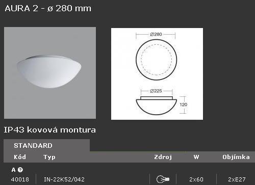 Svítidlo OSMONT AURA 2 IN-22K52/042 2x60W - 40018