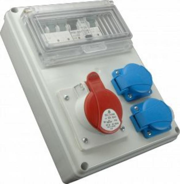Zásuvková rozvodnice ROS-Fi 1603; 2x230V+16A/5P, jištěná s chráničem