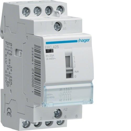 Stykač HAGER ERC425 25A, 4S, 230V AC