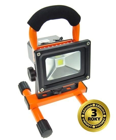 LED reflektor 10W, přenosný, nabíjecí, 700lm, oranžovo-černý