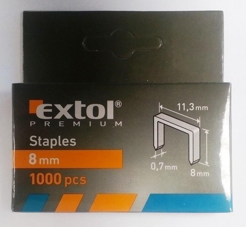 Spony, balení 1000ks 8mm, 11,3x0,52x0,70mm - 8852502